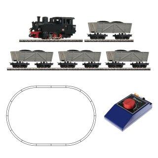 ROCO 31029 - Spur H0e Analoges Startset Feldbahn-Dampflok dreiachsig  mit 4 Loren Ep.II-Ep.IV Gleisoval analoger Regler mit Netzteil