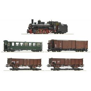 ROCO 31032 -- Spur H0e ÖBB Gmünder Rollwagen-Güterzug: Dampflok 399.06 mit Sound mit Rollwagenzug Ep.IV  7er-Set Lok mit Sound   *** 15 J MoMoBa ***