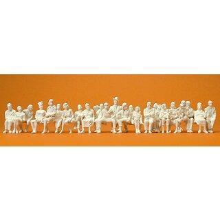 """Preiser 65602 - Figurensatz unbemalter Bausatz 1:43/1:45 """"Sitzende Reisende. 24 unbemal"""""""