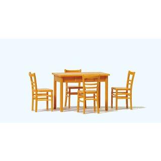 """Preiser 65809 - Zubehör unbemalter Bausatz 1:43/1:45 """"Tisch, 4 Stühle. Materialfarb"""""""