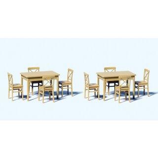 """Preiser 68281 - Zubehör unbemalter Bausatz 1:50 """"2 Tische und 8 Stühle. Bausat"""""""