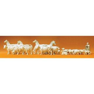 """Preiser 72511 - military unbemalter Bausatz 1:72 """"Pferde, Kühe, Schafe. 22 unbe"""""""