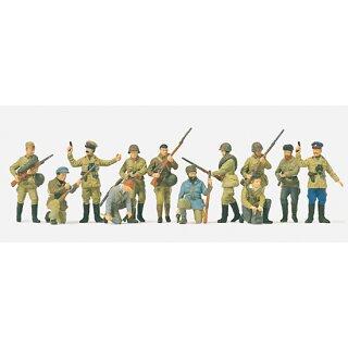 """Preiser 72522 - military unbemalter Bausatz 1:72 """"Infanteristen und Partisanen"""""""