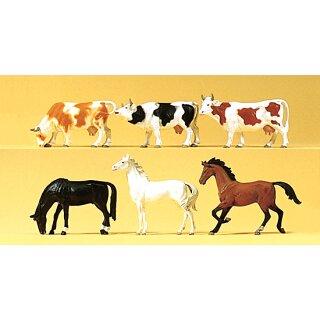 "Preiser 75019 - Figurensatz 1:120 ""Pferde, Kühe"""