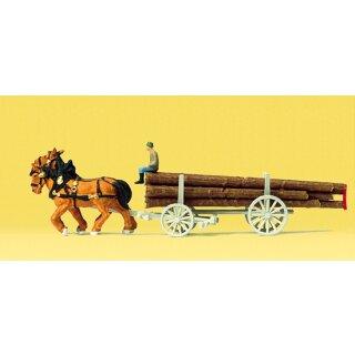 """Preiser 79477 - Gespanne/Traktoren 1:160 """"Langholzwagen"""""""
