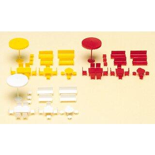 """Preiser 79554 - Zubehör unbemalter Bausatz 1:160 """"Tische, Stühle, Sonnenschirm."""""""